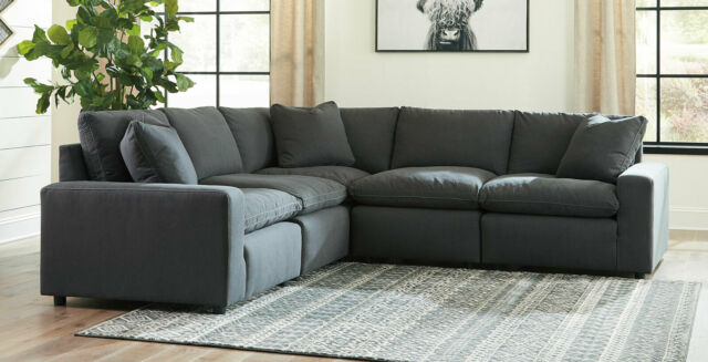 Modular Sectional Living Room Furniture - 5 piece Dark Gray Fabric Sofa Set  IG0O