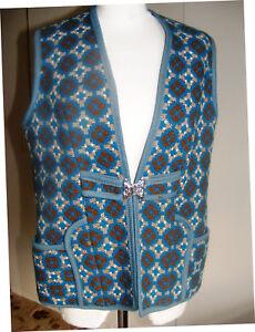 Vintage-Welsh-wool-blue-waistcoat-gilet-tapestry-woven-in-Wales-size-12-14-UK