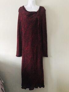 Fenn-Wright-Manson-Size-14-16-Dress-Midi-Stretch-Red-Black-Ditsy-Long-Sleeve