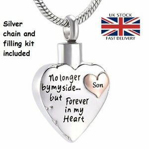 Son-Keepsake-Heart-Cremation-Urn-Pendant-Ashes-Silver-Necklace-Funeral-Memorial