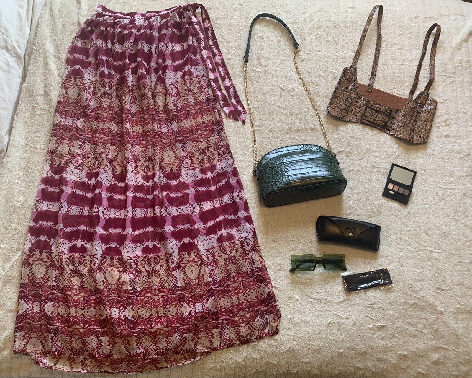 Green & Snakeskin Bundle: Bag, Sunglasses, Belt, Eye Shadow Palette & Cover Up