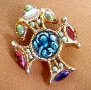 """J226 / Pendentif """"croix"""" Baroque En Ceramique / Signe Roussel"""