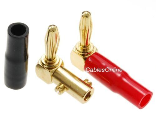 AV-C34RK 1-Pair Gold Plated Right-Angle Screw-Type Banana Plugs w//Plastic Boots