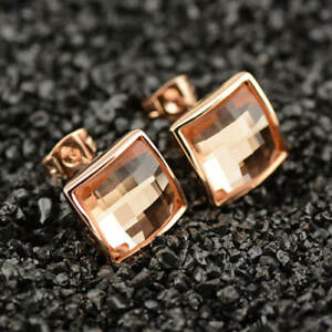 New-18K-Rose-Gold-Filled-Elegant-Lady-039-s-12MM-Peach-Crystal-Square-Stud-Earrings