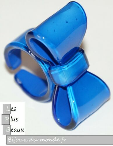 Bague BLEU NOEUD FLOT PAPILLON en Plastique NEUF