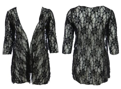 Da Donna Taglia 16-26 Black Lace Jacket versatille Cardi Black Dye funziona ha bisogno di lavaggio