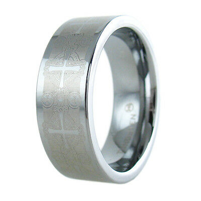 Tungsten Gorgeous Etched Cross Wedding Band Ring Size 8-13