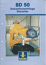 Equipment Brochure - Bauer - BD 50 - Decanter System - Centrifuge c2001 (E3454)
