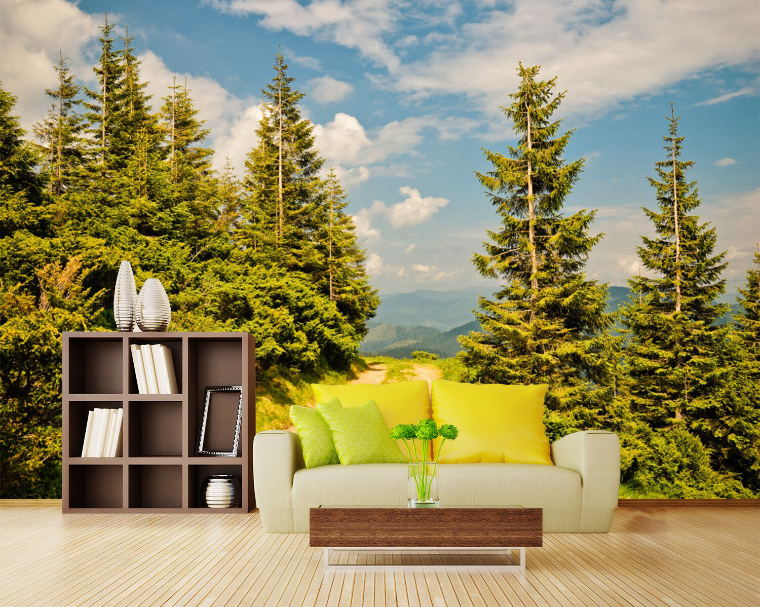 3D Sky And Pines Tree 26 Wall Paper Wall Print Decal Wall Deco Indoor Wall