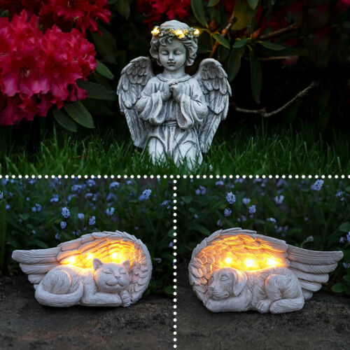 Solar Power Sleeping Pet Angel Grave Memorial LED LightOutdoor Remembrance