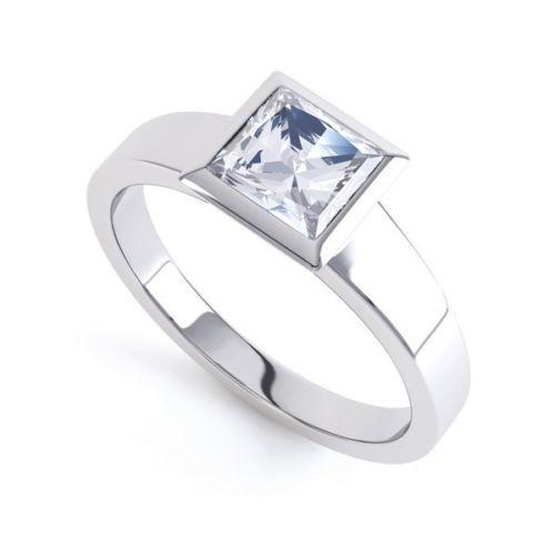 18ct White gold Hallmarked Princess Cut Engagement Ring - 1 Carat