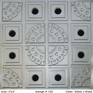 Image Is Loading Decorative Glue Up Faux Tin Ceiling Tiles Silver