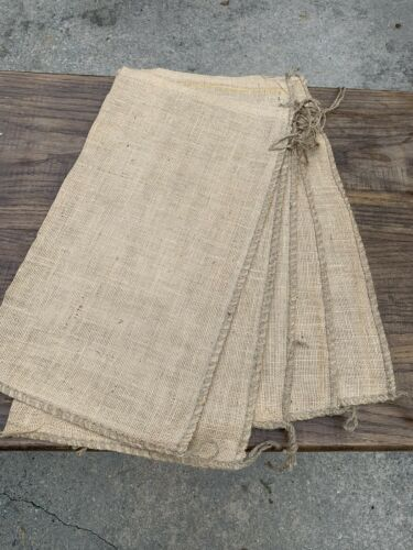 "Large Size Jute Tie Sack Sand Gunny New Lot of 5 Burlap Bags 26/"" x 14/"" Medium"