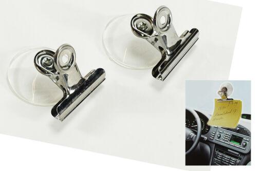2 x Metallklammern mit Saugnapf Notizhalter universell NEU Auto Büro Clip Halter