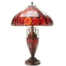 "Stained Glass Lamp Red Shade 24"" High Handmade Victorian Tiffany Style Lit Base"