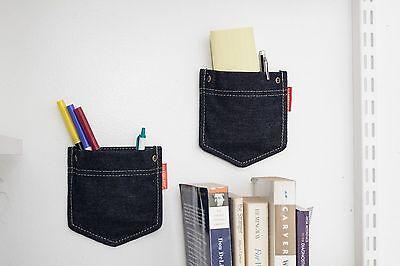 Kikkerland Set Of 2 Jean Denim Pockets Wall Storage Fun Bedroom Office Gift