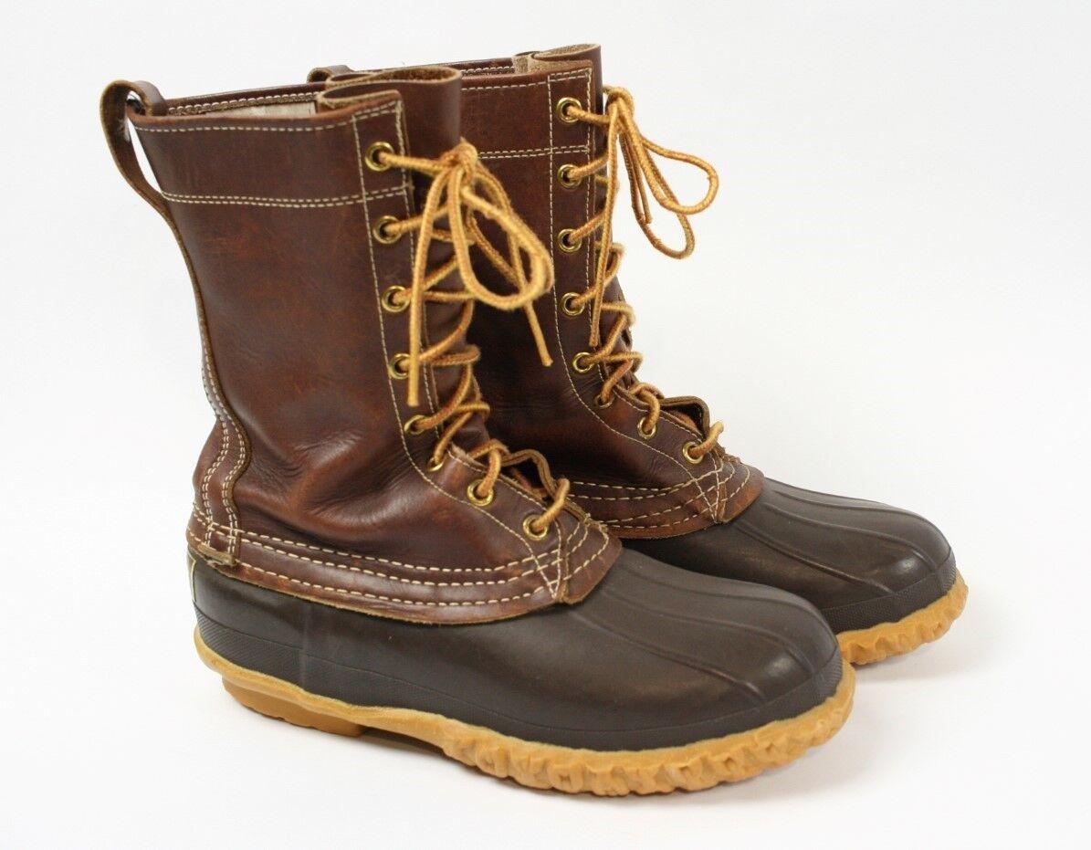LL BEAN en cuir marron VINTAGE 60 s Maine Chasse Chaussure DUCK Bottes femme 8 ou 9