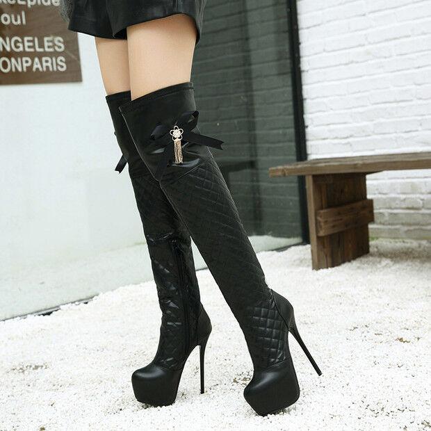Bottes noir doux genou cuisse 15 cm talons aiguilles hauts 9585