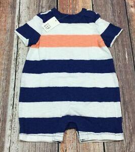Baby-Gap-Boys-0-3-Months-Shorts-Romper-Blue-White-amp-Orange-Striped-Romper-Nwt