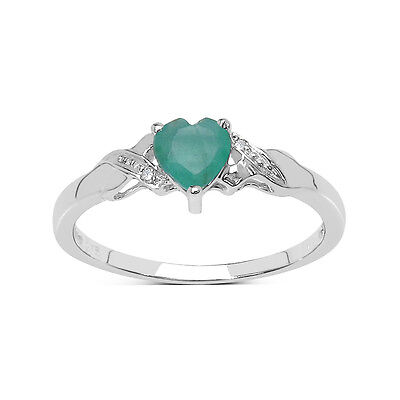 9CT WHITE GOLD SMALL HEART SHAPED EMERALD /& DIAMOND ENGAGEMENT RING SIZE HJ