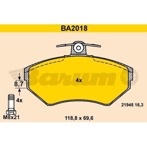 1 Bremsbelagsatz Scheibenbremse BARUM BA2018 passend für SEAT VAG
