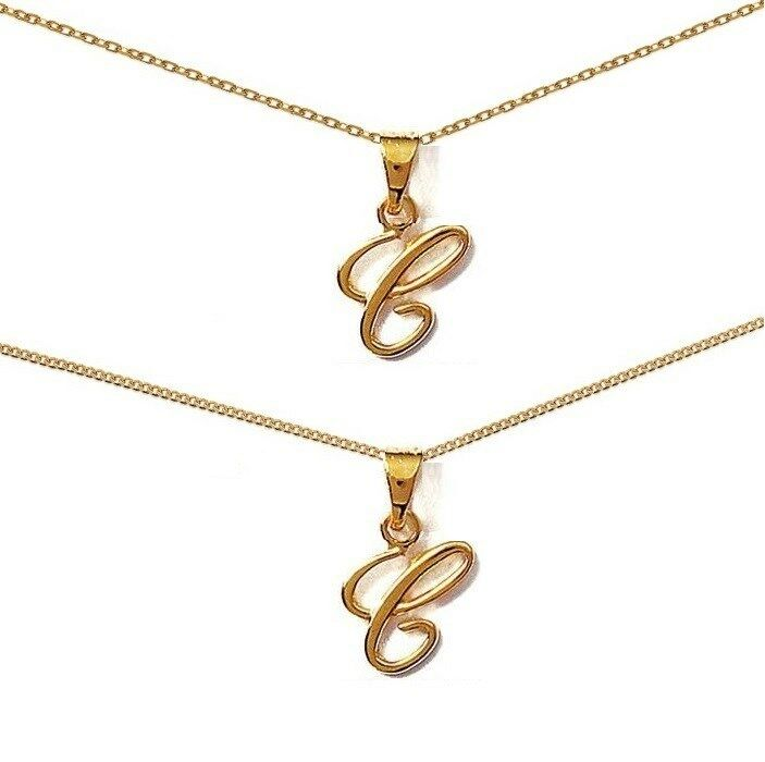 Female Pendant Initial Letter C gold Plated + CHAIN