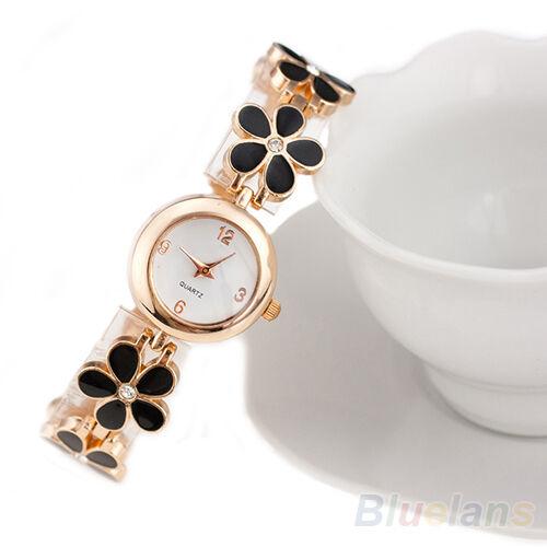 Womens Girls Chic Fashion Daisies Flower Rose Golden Bracelet Wrist Watch B57U