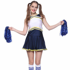 High School Glee Printable Cheerleader Fancy Dress w/ Pompoms Panty Blue Yellow