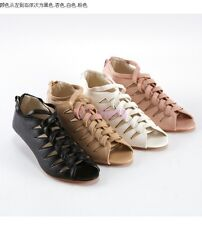 Women Mid Wedge Heel Roma Zip Summer Sandal Boots Summer Casual Shoes Strappy