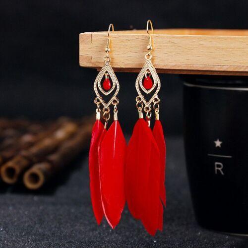 Boho Tribal Tassel Pierced Feather Chandelier Gypsy or Clip On Earrings Gold