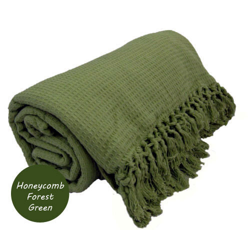 LARGE 100% Cotton Woven Sofa / Bed Throw Blanket 9 Colours & 5 Sizes