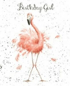 Wrendale Designs Happy Birthday Greeting Card New Flamingo