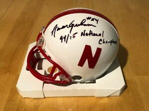 NEBRASKA FOOTBALL AARON GRAHAM #54 SIGNED MINI HELMET 94/95 NATIONAL CHAMPS CAPT
