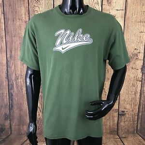 Vintage-Nike-Mens-Large-Green-100-Cotton-Retro-T-Shirt-Made-In-USA-RARE