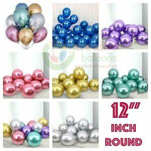 X 10 High Quality Chrome Balloons Metallic Latex Pearl Balloon Birthday Party