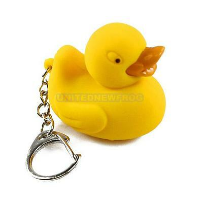 Yellow Duck Sound LED Light Lamp Flashlight Keyring Kid Gift Toy Party Bag Favor