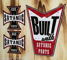 """Biker Aufkleber Set 3St. """"Satanic Satan"""" Harley / Chopper / Bobber British Race"""