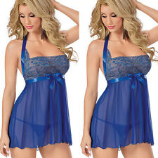 HOT Women See-Throu Halter Lingerie Sleepwear Nightwear Lace Mini Dress+G-String