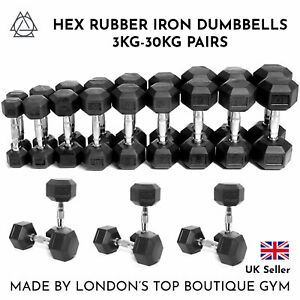 Hex-Dumbbells-3kg-30kg-Pairs-Cast-Iron-Rubber-Encased-Home-Gym-Fixed-Weight-Set