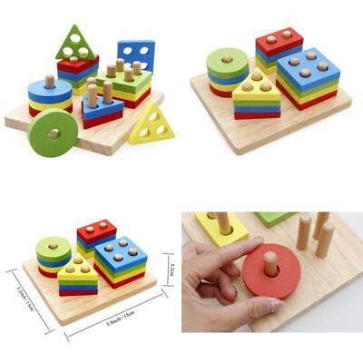 Wooden Shapes Blocks Toy Puzzle Shape Sorter Educational ...