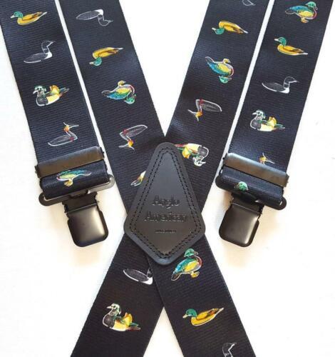 """Bretelles élastique pinces Heavy Duty 1.5/"""" ou 2/"""" Canards noirs Canard Tir Chasse Pêche"""