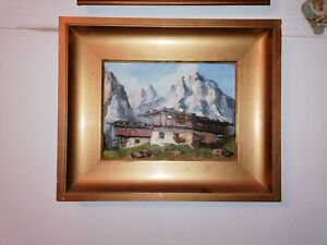 Gemaelde-Tiroler-Berghof-Ol-auf-Karton-signiert-Mulley