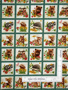 Forest-Babies-Baby-Animal-Fox-Raccoon-Bunny-Deer-Cotton-Fabric-Oasis-By-The-Yard