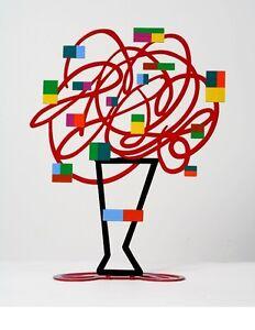 David Gerstein Artist Art Object Red Bouquet Tree Sculpture Laser Cut Free Ship