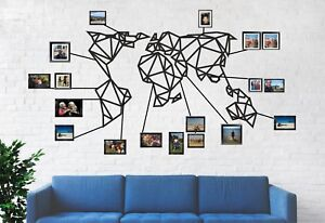 Image Is Loading Geometric World Map Metal Wall Decor Home Office