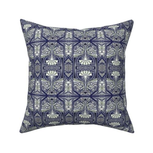 Art Nouveau Navy Blue Dark Throw Pillow Cover w Optional Insert by Roostery