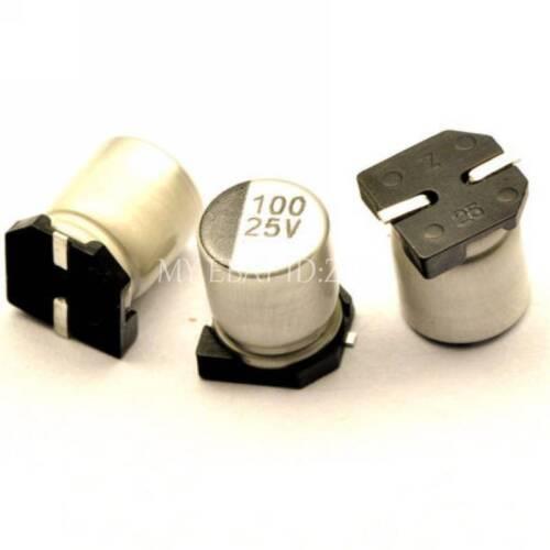 10PCS 100uF 25V 100MFD 25Volt SMD Electrolytic Capacitor 6mm×7mm