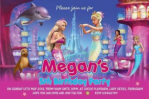 Image Is Loading Personalised Birthday Invitations Mermaid Barbie X 5