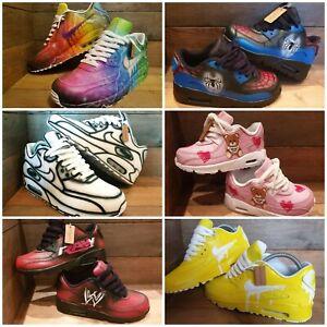 Nike Air Max 90/Custom Painted/Blue/PinkChildrens/Kids/Boys/Girls ...