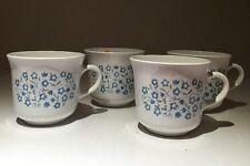 4 Pcs Corelle BLUE HEATHER flower Cup Mug Corning USA coffee tea white blue